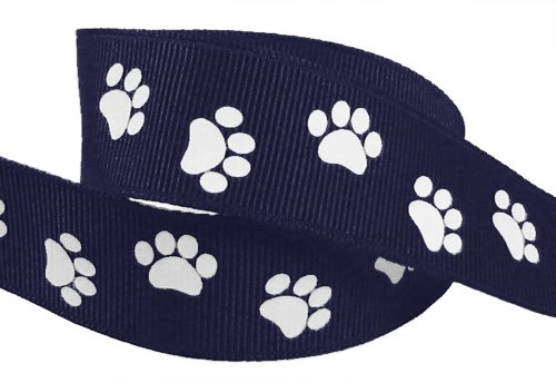 HipGirl Brand Printed Grosgrain Ribbon, 5 -Yard 7/8-Inch School Spirit Paw Prints, Navy/White