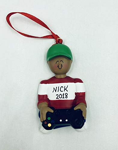 - Video Game Player: African- American Boy Personalized-Handpainted Free Customization by Gifts Center Ornament