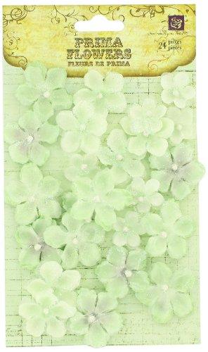 Prima 538446 Pearl Penache Fabric Flower Embellishments, Elf Green