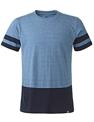 Stone Feather Men's Short Sleeve Crewneck Yarn Dyed Striped Cotton T-shirt Heather Teal_Navy XXX-Large