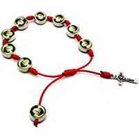 Saint Charbel Red String Bracelet Catholic Metal Cross Adjustable Faith Bangle
