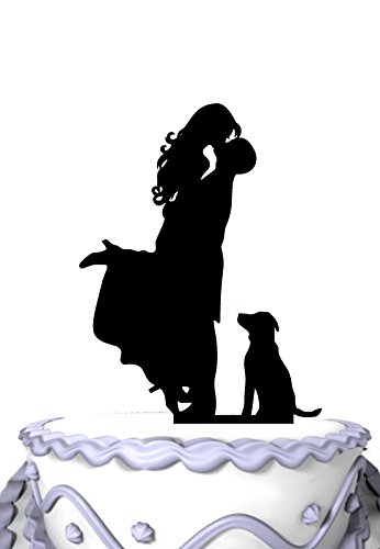 Meijiafei Wedding Cake Topper - Groom Hold Bride with Pet Dog Silhouette Cake - New Topper Cake Top Wedding