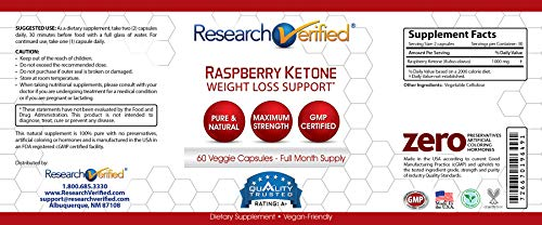 Research Verified Raspberry Ketones -100% Pure Natural Raspberry Ketones -1000mg/day for Fast and Easy Weight Loss - 365 Day 100% Money Back Guarantee - 180 Capsules (Three Month Supply) by Research Verified (Image #2)