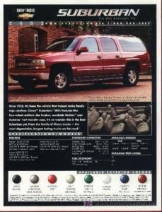 2002 CHEVROLET SUBURBAN COLOR SALES BROCHURE - USA