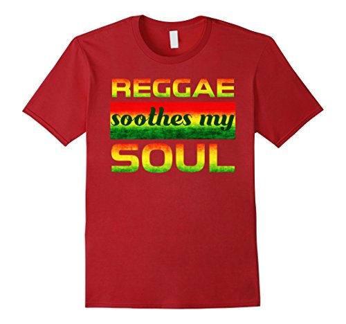 Mens Reggae Soothes My Soul Reggae Rastafari Tshirt XL Cranberry (Soul Soothe The)