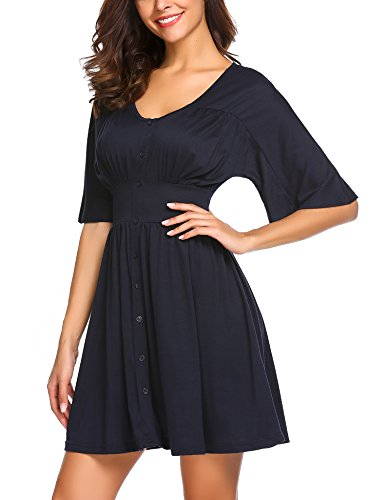 Dress Neck Short Print Blue Ethnic Navy Waist Elastic Beyove O Floral Sleeve Women's Midi wIqx7Ft0FP