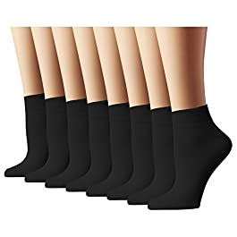 Athletic Socks Women's Running Socks Quarter Cut, Black, Sock Size 10-13, 8 Pack