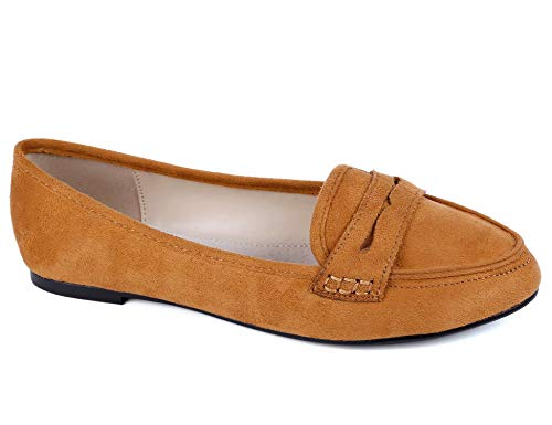 (Greatonu Women's Faux Suede Comfort Slip-on Penny Loafer Flat Shoes (7.5 US, Camel))