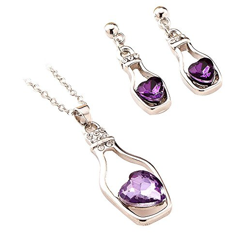 Diamond Drifting Bottle Crystal Pendant Necklace and Earrings by TOPUNDER (Earrings Necklace Zodiac)