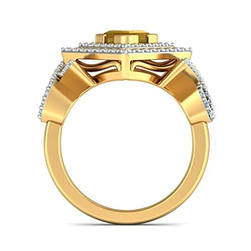 14K Or jaune, 0,54carat Diamant Blanc (IJ | SI) Citrine et diamant Bague