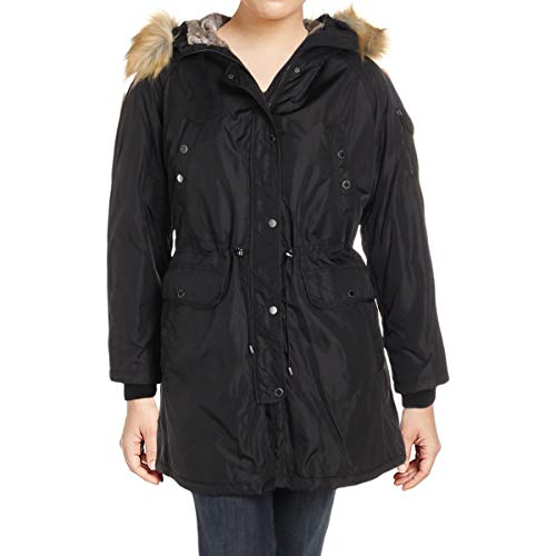 1 Madison Expedition Womens Plus Winter Anorak Parka Coat Black 1X