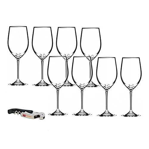 Riedel Vinum Leaded Crystal Chablis/Chardonnay Wine Glass Set, Buy 6 Get 8 with Bonus BigKitchen Waiter's Corkscrew