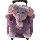 Kids Purple Rolling Backpack With Elephant Stuffie -Affordable Gift for your Little One! Item #DKKI-8077