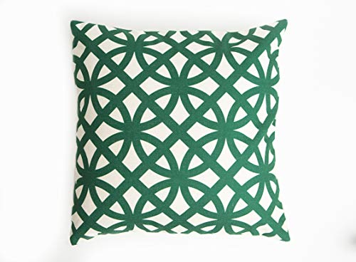 Mark One Home Goods Green and White Accent Decorative Throw Pillow Cover | Couch Pillow Cover | Throw Pillow Case | 18 x 18 inch Premium Couch/Bed Pillow Cover, 1 Cover