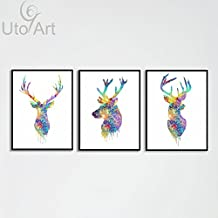 Uto_Art Triptych Original Watercolor Deer Head Animals A4 Art Print Poster Wall Pictures Living Room Canvas Painting No Frame Home Decor (40*60 cm x 3, Unframed)