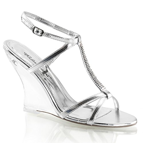 s T-Strap Silver Wedge Sandals Shoes with Rhinestones and 4'' Heels Size: 10 (4' T-strap Sandal)