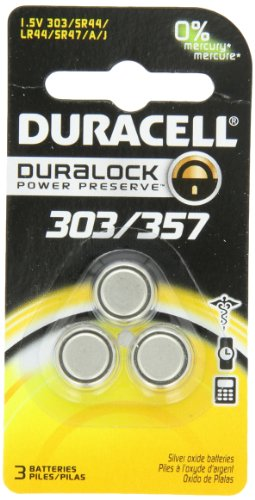 Price comparison product image Duracell D303 / 357 Silver Oxide 3 Pack,  (1 Pack of 3)
