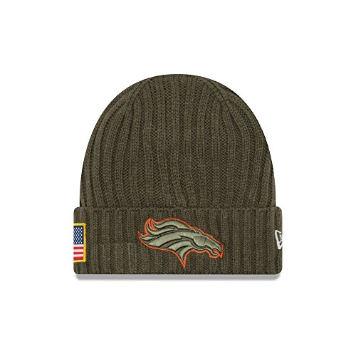 New Era Men's Men's Broncos 2017 Salute to Service Cuffed Knit Hat Olive Size One Size ()