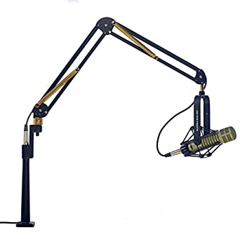 "ProBoom 61900-BG Elite Standard Mic Arm with 15"" Integrated XLR Riser, 29"" (73.7 cm) Reach, Holds Up to 2.5 lbs, Black/Gold"