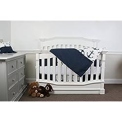 7 piece Crib bedding set Anchor (Navy and White)