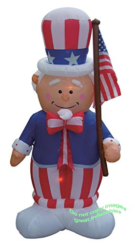 4TH OF JULY/MEMORIAL DAY INFLATABLE 8' TALL AIRBLOWN UNCLE SAM HOLDING FLAG by Unknown