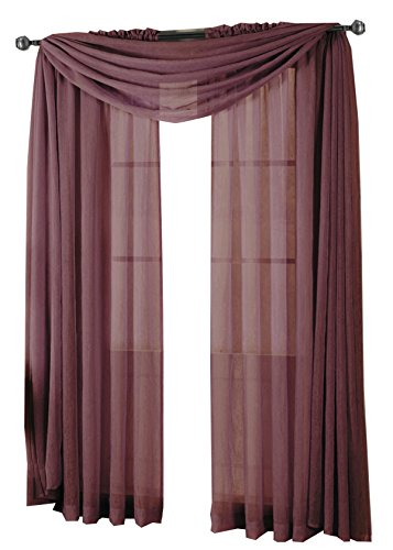 Curtains Eggplant (Royal Hotel Abri Eggplant Rod Pocket Crushed Sheer Curtain Panel, 50x84 inches, by)