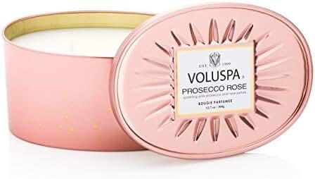Voluspa Prosecco Rose 2 Wick Candle In Decor Oval Tin 12 oz