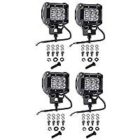Cutequeen 4 X 18w 1800 lúmenes Cree LED Spot Spot para Off-road SUV Barco 4x4 Jeep Lamp Tractor Marine Off-road Lighting Rv Atv (paquete de 4)