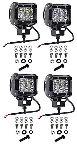 Cutequeen 4 X 18w 1800 Lumens Cree LED Spot Light for Off-road SUV Boat 4x4 Jeep Lamp Tractor Marine Off-road Lighting Rv Atv(pack of 4) (Car Cutequeen Led Light)