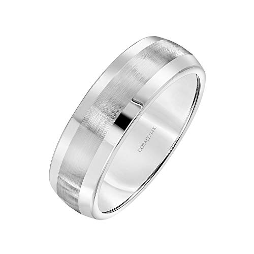 (Brilliant Expressions Cobalt Metal Low Dome Satin-Finish Wedding Band with Silver Edges, 7mm, Size 11)