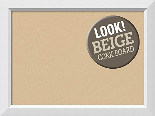 Framed White Board Cork (Amanti Art Outer Size 32 x 24 Framed Beige Cork Board Large, Blanco White, Large-32 x 24