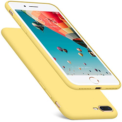 DTTO iPhone 8 Plus Case/iPhone 7 Plus Case, 5.5 inches, Thin Rubber [Romance Series] Liquid Silicone Gel Shock-Absorption Anti-Scratch Slim Fit Cover for iPhone 8P/7P - Yellow