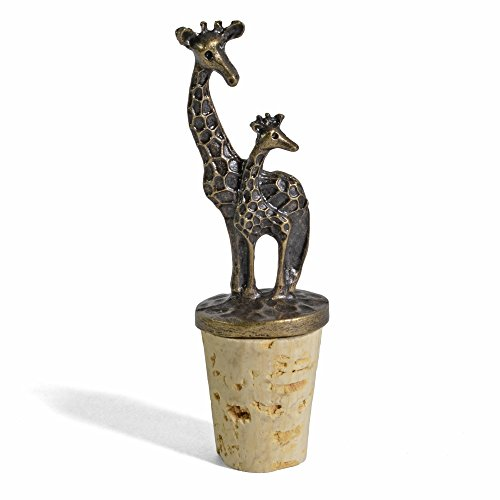 (Momma and Baby Giraffes Antique Brass and Cork Bottle Stopper)