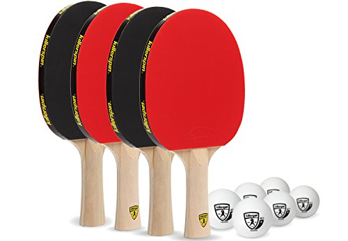 (Killerspin Jetset 4U Classic - Set of 4 Recreational Ping Pong Paddles with 3 White Balls for Every Occasion)