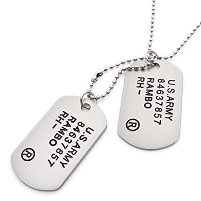 steel id bank tag dog uniform military stainless polished item army pendant experiment necklace simple