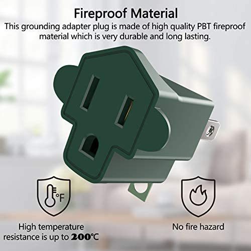 41EibjEI4mL. AC 3 Prong to 2 Prong Grounding Adapter Wall Outlet Converter, JACKYLED 2 Prong Power Adapter Fireproof Material 200℃ Resistant Heavy Duty for Household, Electrical, Indoor Use Only, Dark Green, 10 Pack    Product Description