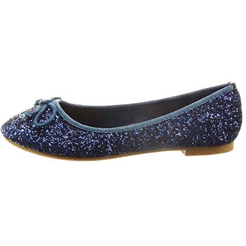Sopily - Scarpe da Moda ballerina alla caviglia donna papillon paillette Tacco a blocco tacco alto 1 CM - Blu