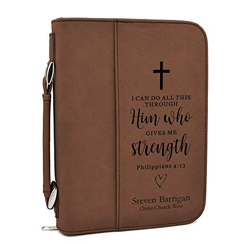 Custom Bible Cover | I Can Do All This Through Him |Personalized Bible Cover (Brown)