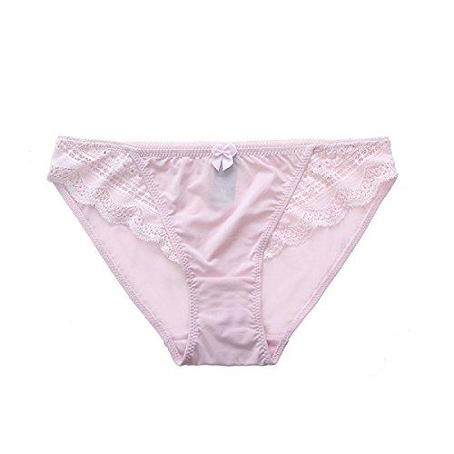 POKWAI Más Allá De Las Mujeres Del Bikini Bragas Suave Seda 6 Pack Borde Del Cordón Atractivo De La Cintura Baja A7