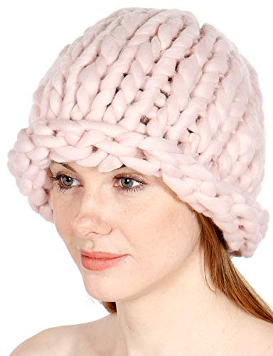 SERENITA Slouch Beanie for Women. Super Chunky Knit Hat. Oversized Beanie for Women. Big Loop Stretch Cable