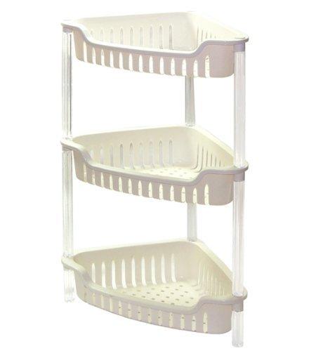 Triangular Plastic Bathroom Bath Corner Rack Shelfing Unit Caddy ...