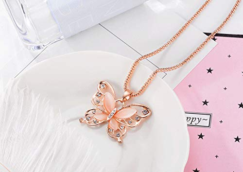 Dainty Butterfly Necklace,Haluoo Women Fashion Delicater Rhinestones Butterfly Pendant Necklace Elegant Pink Crystal Pendant Rose Gold Long Sweater Chain Necklace For Ladies Girls (Rose Gold)