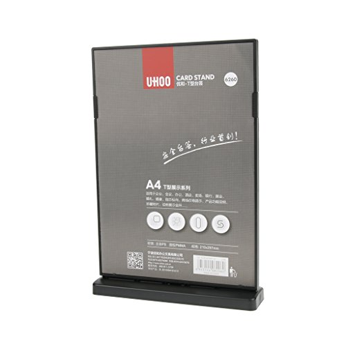 Homyl Double-Sided A4 Acrylic Sign Holder Ad T-Frames Menu Display A4 Large - black by Homyl