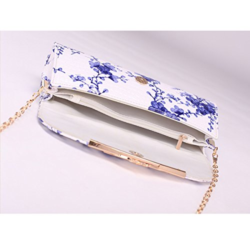 Purse Handbag Bag Flower Bag Leather PU Flower Dooppa Crossbody Shoulder Pattern Ladies Clutch Blue 1xqBY1w0F