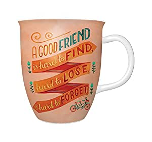 Studio Oh! Ceramic Mug, A Good Friend is Hard to Find by Becca Cahan, Multicolor