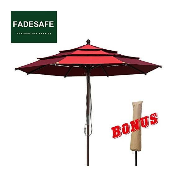 EliteShade Sunbrella 9Ft Market Umbrella Patio Outdoor Table Umbrella with Ventilation (Sunbrella Jockey Red Clarity) - FADESAFE FABRIC: Three layers ventilated breathe freely.Water repellent, 98% UV protection and Solution dyed Fading resistant fabric. Our Fadesafe fabric make your patio umbrella last longer and stay strong for years to come FULL ALUMINUM UMBRELLA FRAME:20% stronger than most of the umbrellas in the market. The 9ft Patio umbrella comes with 1.5 inches diameter aluminum pole provides stronger support than standard round poles. Rust Free Powder Coated with 8 Ribs. Wonderful choice for any outdoor activities CRANK OPEN SYSTEM,PUSH BUTTON TO TILT: Crank open system, easy to open and close by the crank handle. Press push button to tilt for more shade Easy to tie up our patio umbrella with strap, prevent falling in wind, rain etc - shades-parasols, patio-furniture, patio - 41EiclpvTGL. SS570  -
