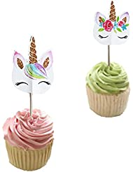 Unicorn Eye Horn Cupcake Topper (48 Pack) Double Sided Kid's Birthday Baby Shower Party Decorations Supplies