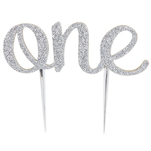 INNORU First Birthday Cake Topper - 1st One Birthday Party Supplies - Silver (Boy First Birthday Cake Topper)