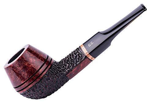 Dr. Watson & G.G. Briar Tobacco Smoking Pipe Set - Bulldog - Hand Made (Metal Cooling Filter) (Rust)