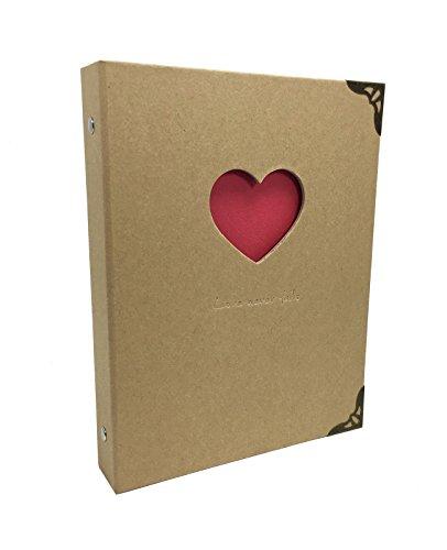 StrawCoco Love Never Fails - Brown Kraft Hardcover Ring Binder Scrapbook DIY Photo Album, Sketchbook, Wedding Guest Book, Anniversary Gift, Baby Album (Album Wedding Binder)